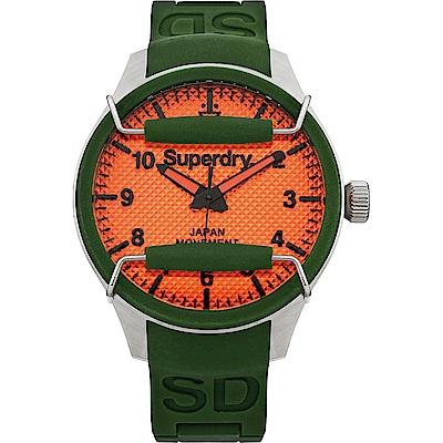 Superdry極度乾燥 活力潮流時尚手錶-橘X綠/44mm