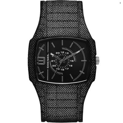 DIESEL 風暴瀑布大立體面腕錶-黑/45mm