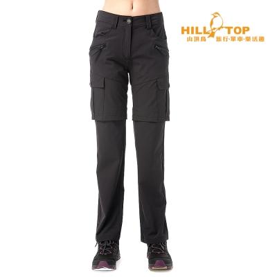 【hilltop山頂鳥】女款抗UV超潑水彈性兩截褲S08F17黑