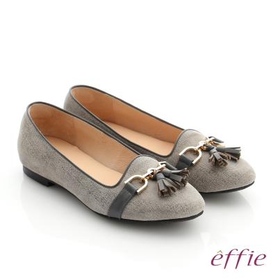 effie 個性美型 真皮鍊條流蘇奈米低跟鞋 灰色