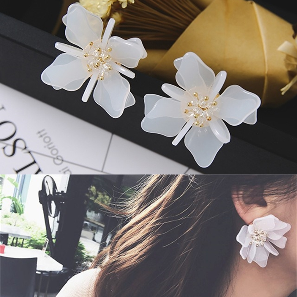 梨花HaNA 韓國絕美飾界水晶立體花朵手工耳環