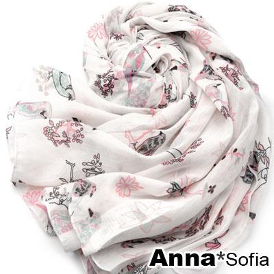 AnnaSofia-森鳥枝鵲-柔軟絲光棉披肩圍巾