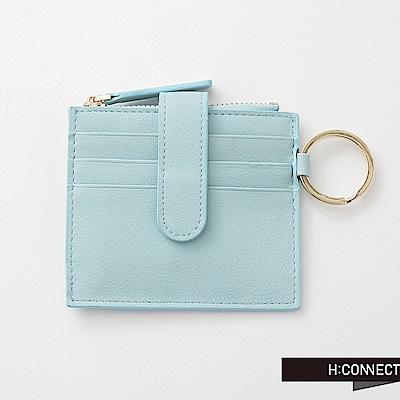 H:CONNECT 韓國品牌 質感皮革零錢夾-藍