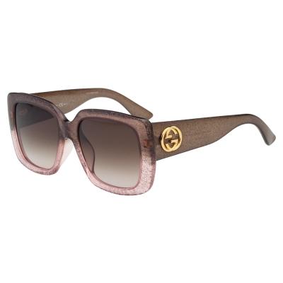 GUCCI-亮晶晶方框 太陽眼鏡 (漸層粉色+咖啡)