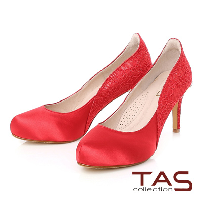 TAS 後跟水鑽蝴蝶結蕾絲拼接曲線高跟鞋-美型紅