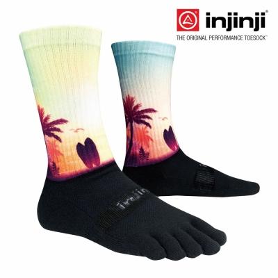 【Injinji】TRAIL野跑避震吸排五趾中筒襪-棕櫚/淺黃