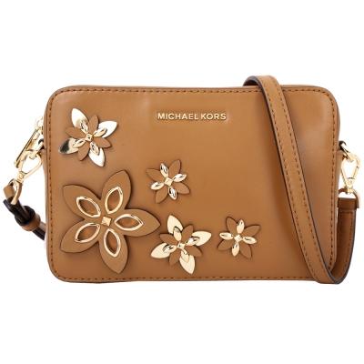 Michael Kors Flowers 金字花朵飾皮革斜背包(棕色)
