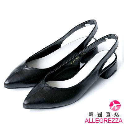 ALLEGREZZA-韓國直送-韓製尖頭前包後勾腳低跟鞋-黑