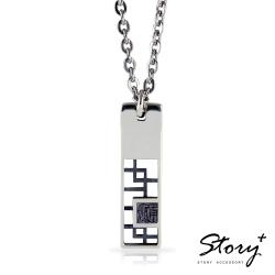 STORY故事銀飾-鉛字訂製925純銀項鍊-墨色