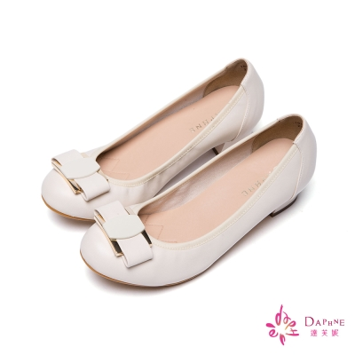 達芙妮DAPHNE-優質甜心蝴蝶結百搭小圓頭低跟鞋