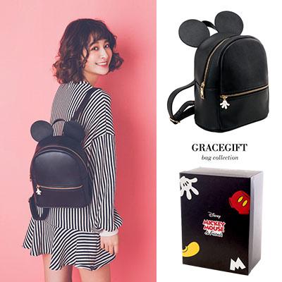 Disney collection by Grace gift米奇立體質感皮革後背包
