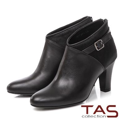 TAS 馬毛拼接皮帶扣高跟踝靴-經典黑