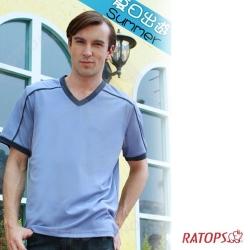 【瑞多仕】男款 COOLMAX V領排汗衫_DB8288 灰藍子 V1