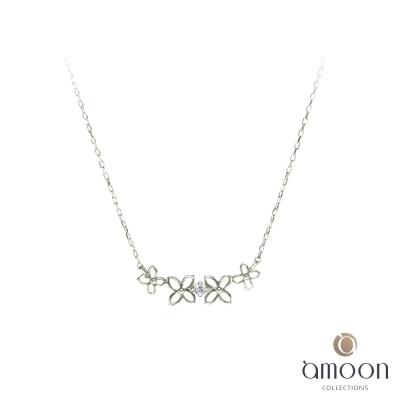 amoon 戀戀東京系列 花戀 10K金鑽石項鍊-白K金
