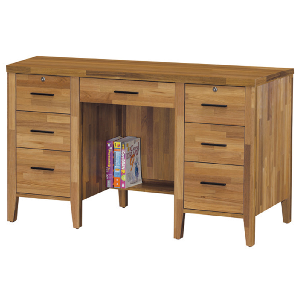 品家居 羅比4.2尺七抽書桌-126.5x58x77cm-免組