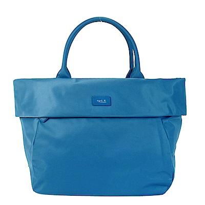 agnes.b皮標翻領船型手提包-大/土耳其藍