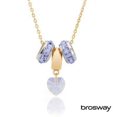 brosway Tres Jolie 施華洛世奇水鑽不鏽鋼項鍊 紫/心鑽紫-BTJS57