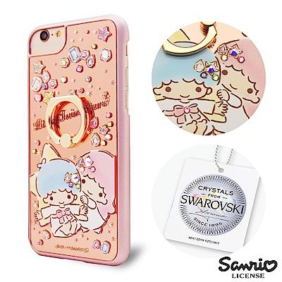 三麗鷗  iPhone8/7/6s 4.7吋施華彩鑽鏡面指環扣手機殼-寶石雙子星