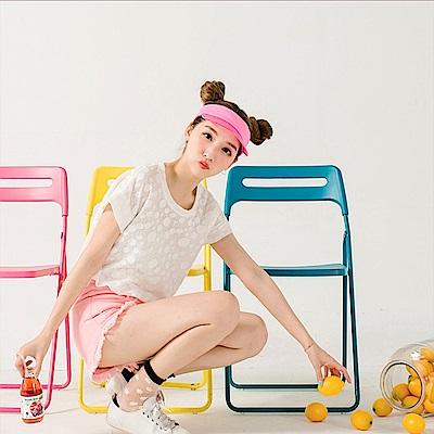 台灣製造~純色好感系圓點透膚圓領上衣-OB大尺碼