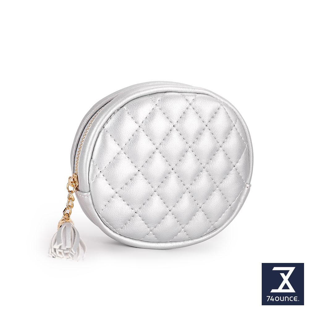 74盎司 菱格紋流蘇橢圓零錢包[LN-716]銀
