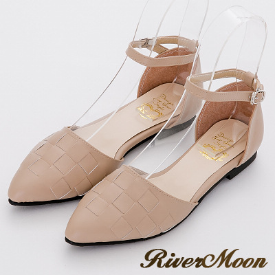 River&Moon優雅OL-MIT編織尖頭扣帶平底鞋-可可