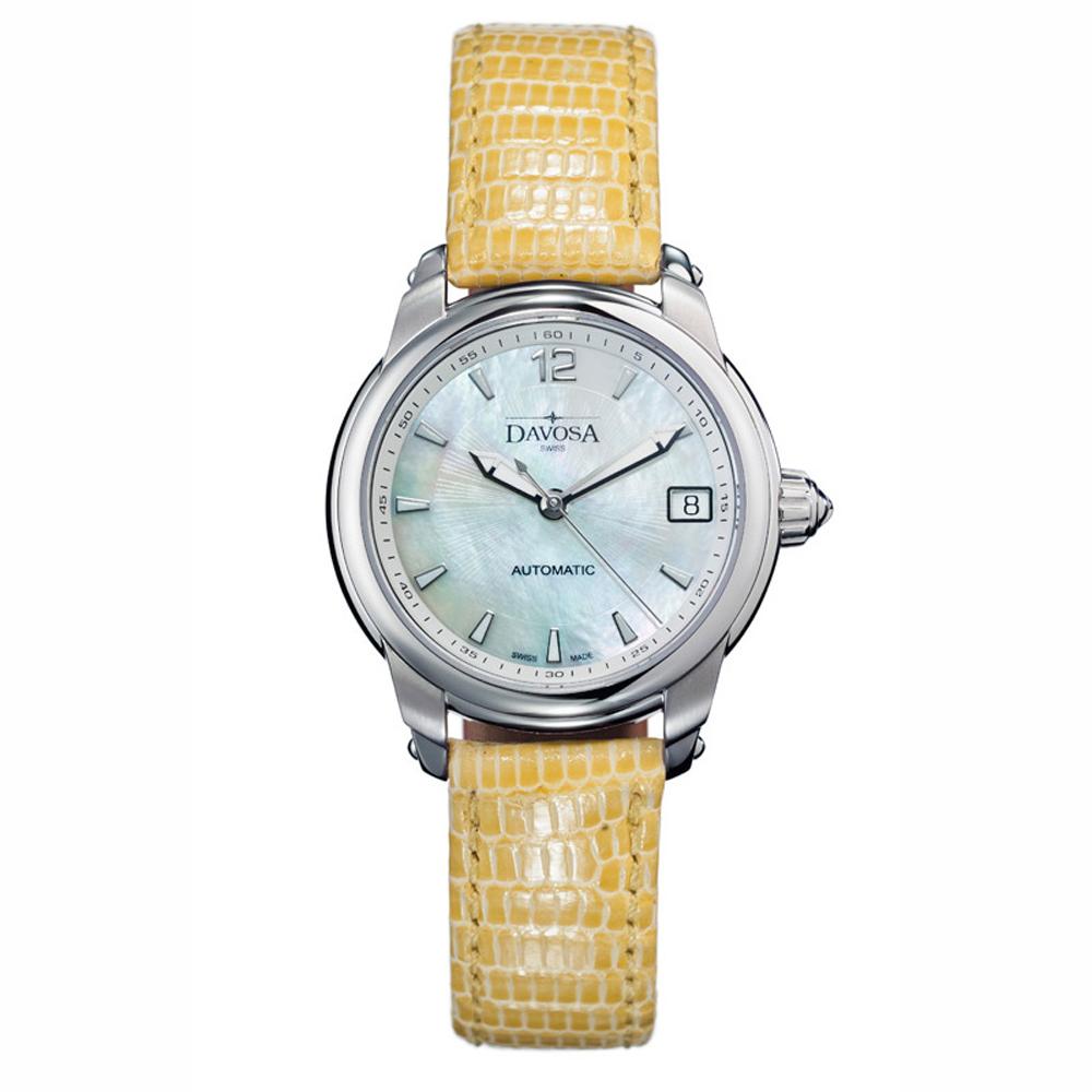 DAVOSA Ladies Delight 系列 經典時尚腕錶-白x駝色錶帶/34mm