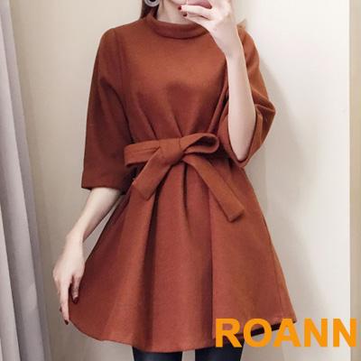 純色小立領七分袖毛呢洋裝 (共二色)-ROANN