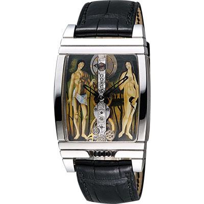 Corum崑崙金橋亞當夏娃彩繪白K限量手動上鍊機械腕錶-30mm