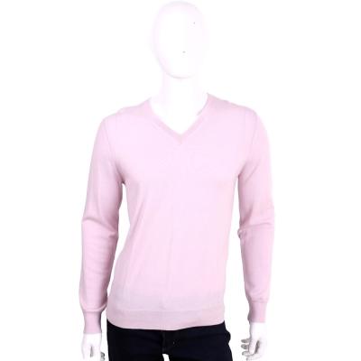 BURBERRY 粉色手肘格紋細節設計羊毛V領針織衫(100%WOOL)