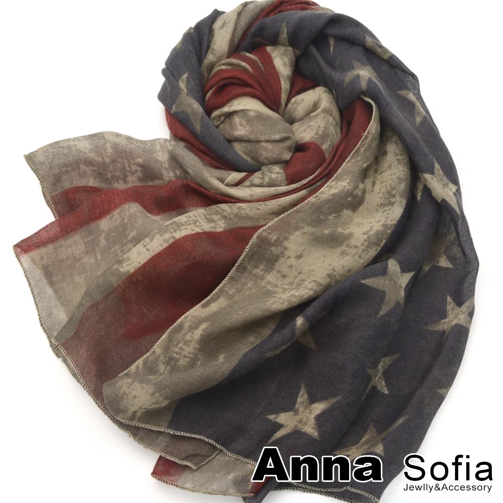 【2件450】AnnaSofia 美國旗染印 拷克邊韓國棉圍巾披肩(褐駝系)