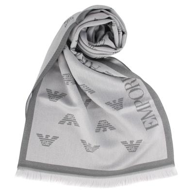 Emporio Armani 雙面老鷹LOGO羊毛圍巾-灰色