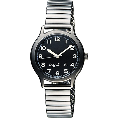 agnes b. 25周年紀念復刻經典腕錶-黑x灰/34mm