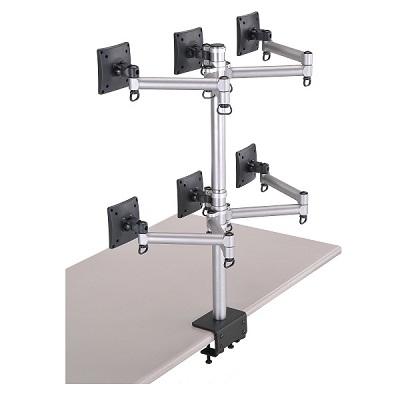 FOGIM夾桌懸臂式液晶螢幕支架-六螢幕-終身保固