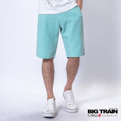BIG TRAIN 棉麻休閒短褲-男-淺藍
