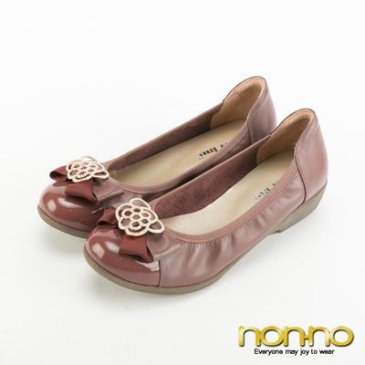 nonno-復古碎花蝴蝶結楔型跟鞋-棗紅