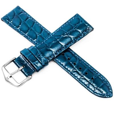 海奕施 HIRSCH Crocograin M 亮面真皮錶帶 防水可清洗 鱷魚皮壓紋-藍