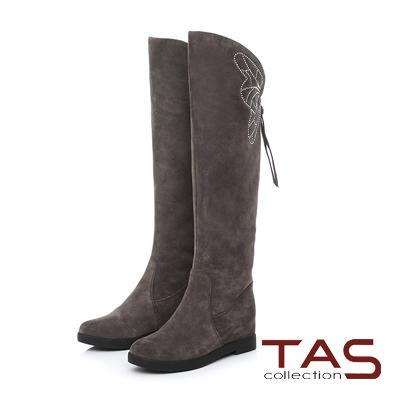 TAS 蝴蝶燙鑽麂皮內增高長靴-迷人灰