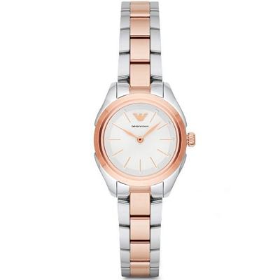 ARMANI 亞曼尼優雅簡約時尚雙色手錶-銀X玫瑰金/30mm