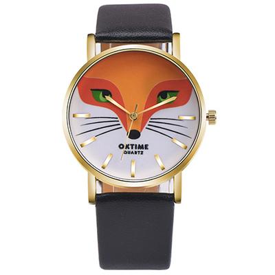 Watch-123 狐狸方程式-可愛動物個性創意學生手錶-黑色/36mm