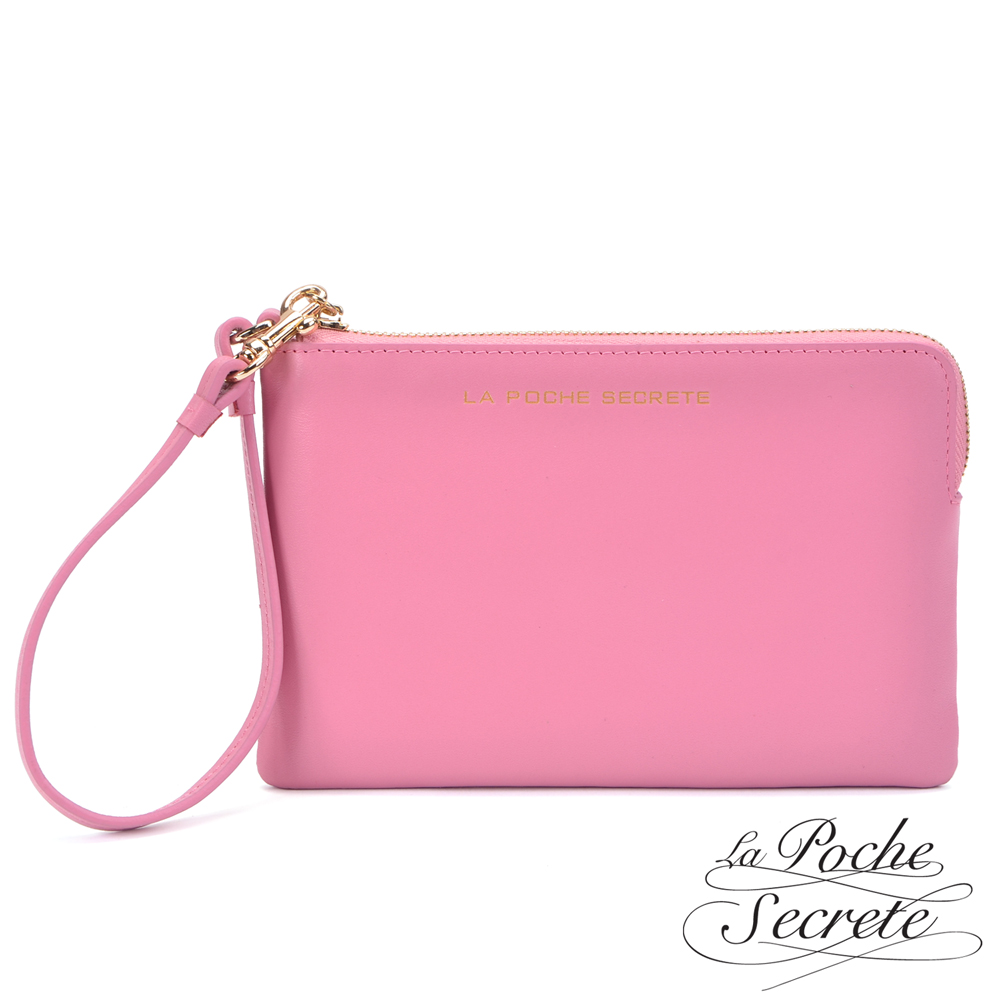 La Poche Secrete真皮  簡約風格質感真皮萬用手拿包 甜美桃