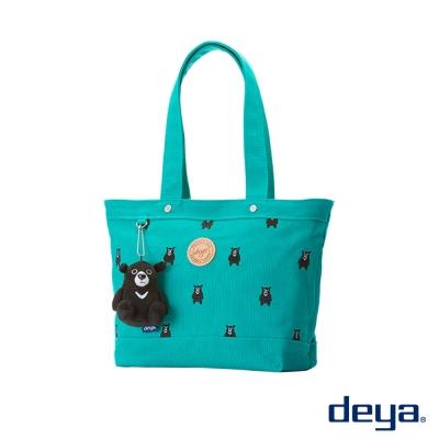 deya黑熊純棉帆布托特包後背包(小)- 綠色