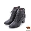 SM-台灣全真皮-瑪莉珍繞帶中高粗跟短靴-黑色