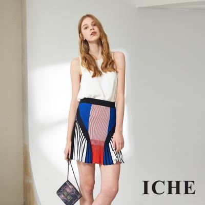 ICHE 衣哲 時尚撞色印花合身造型百搭短裙