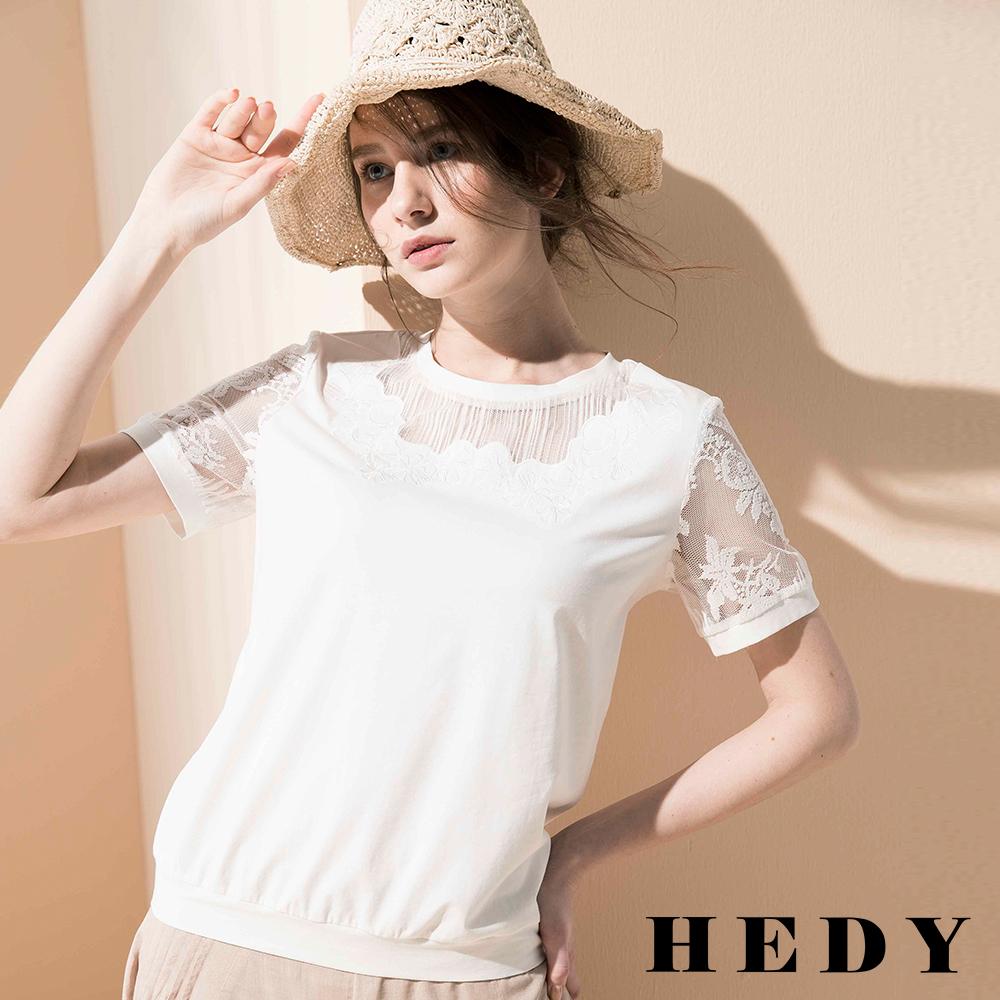 Hedy赫蒂 圓領鏤空蕾絲收腰上衣(共二色)