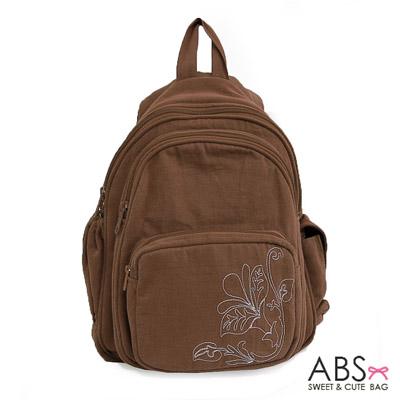 ABS貝斯貓 典雅花卉圖騰 小型雙肩後背包88-037 - 可可咖