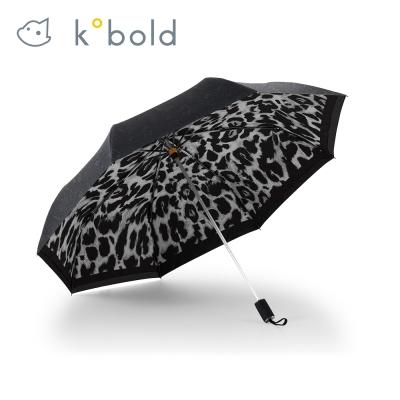 德國kobold酷波德 經典豹紋遮陽防曬降溫傘 -雙層三折傘-白