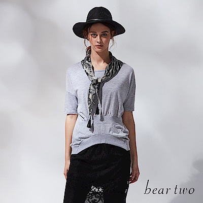 beartwo 羅紋縮擺設計落肩棉T(二色)