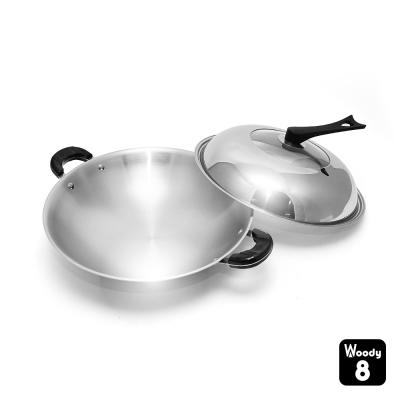 Woody 8 醫療等級18/10不鏽鋼炒鍋 40cm (雙耳)