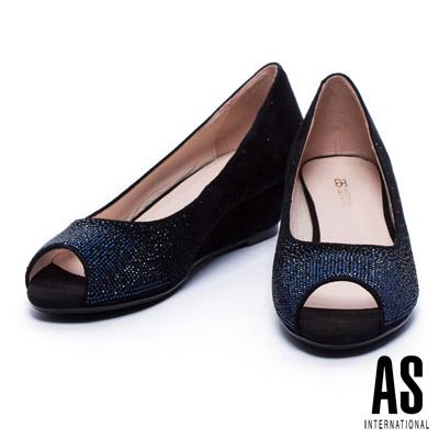 跟鞋 AS 優雅璀璨雙色漸層水鑽羊麂皮魚口楔型跟鞋-黑