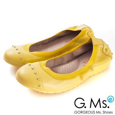 G.Ms. 氣質金色鉚釘全真皮微坡跟娃娃鞋-吸睛黃
